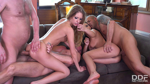 [HandsOnHardcore] Nelly Kent and Rebecca Volpetti – Two Babes DP'ed Balls Deep [1080p]